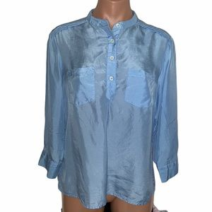 Tommy Bahama Blue Silk Popover Top size S